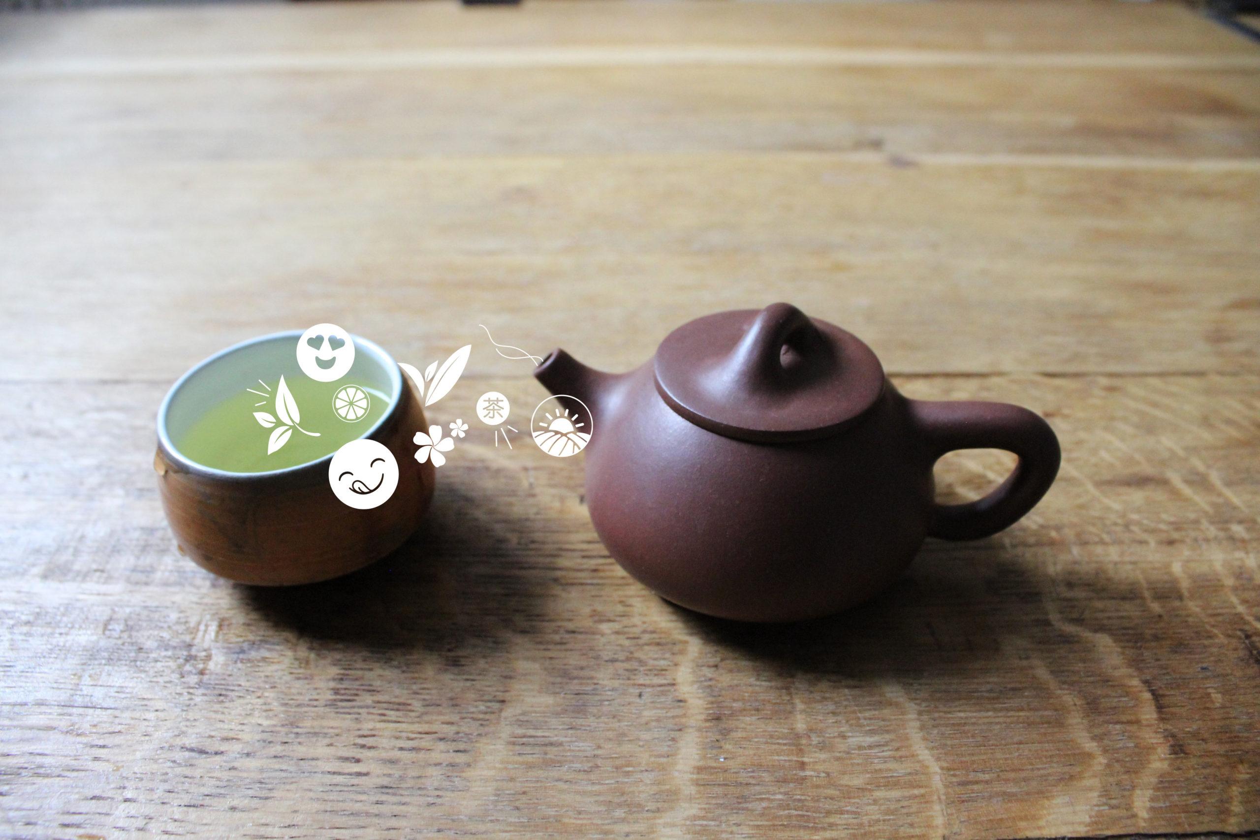 Tasse de thé et théière en terre de yixing illustrant le plaisir sensoriel d'une ddégustation de thé